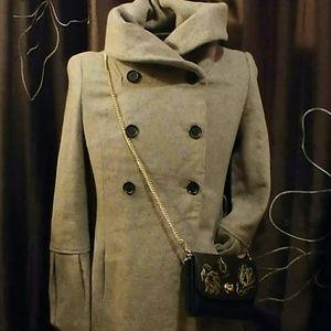 Zara Basic Long Beige Wool Coat Size Medium